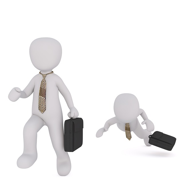 Cartoon image of two businessmen, one tripping over.